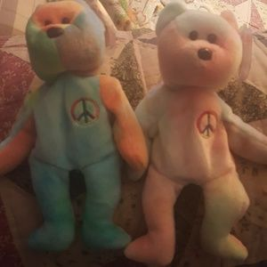 TY PEACE BEAR DUO : W/TAG PROTECTERS